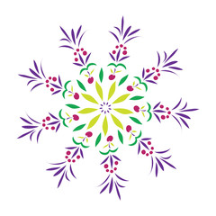 Simple pattern with fantastic flowers and fruits on a white background