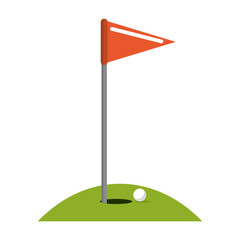Golf flag and ball in hole