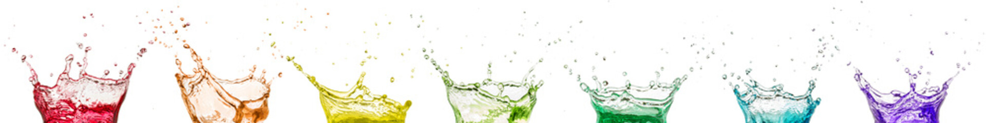 Wall Mural - multicolor juice splash collection isolated on white