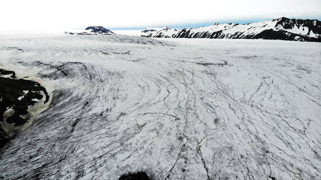 Panoramic view of the Skalafellsjokull glacier, lots of snow and ice, Iceland. created by drone camera