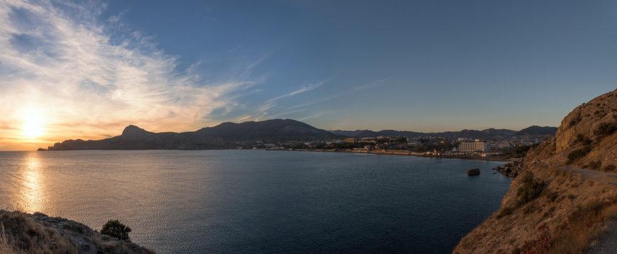View of Sudak bay from Alchak Cape, Crimea, Russia.