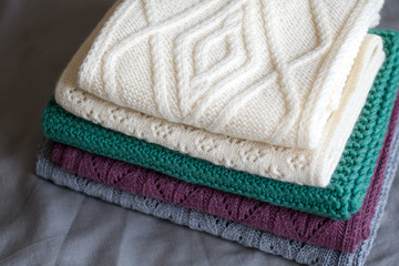 Stacked knitted scarves