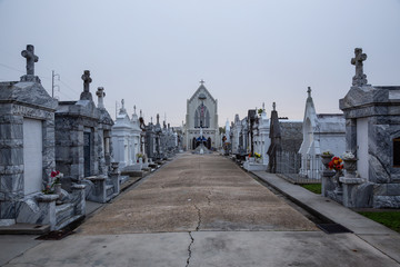 New Orleans, Louisiana, United States - November 7, 2018: Saint Roch's Cemetery during foggy morning. Fotomurales