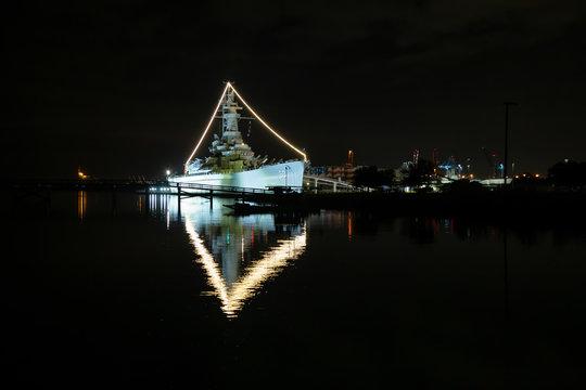 Mobile, Alabama, United States - November 06, 2018: USS Alabama Battleship Memorial Park during a dark night.
