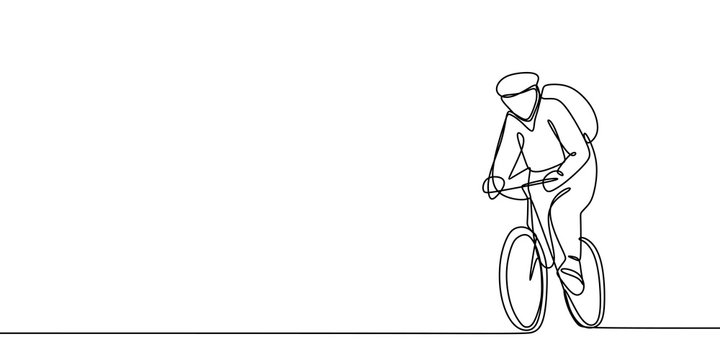 One Line Drawing of a Bicycle Athlete. Vector Illustration.