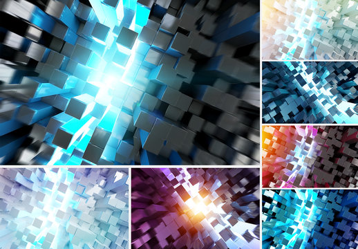 Glowing Squares Background Set