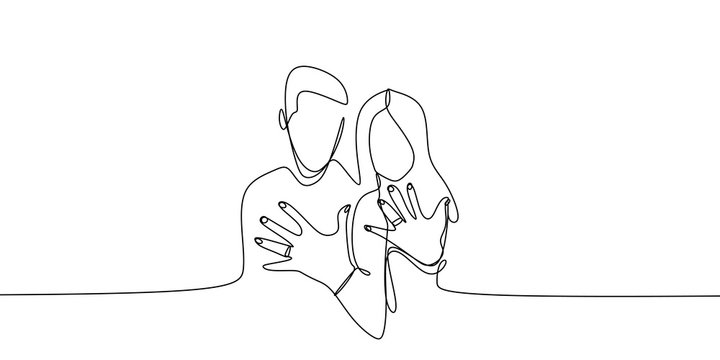 Married couple showing his and her ring after wedding with continuous single one line art drawing vector