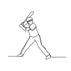 Baseball player one line drawing continuous style design isolated on white background vector illustration minimalism theme.