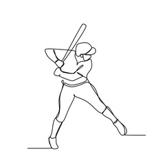 Baseball player, hitter swinging with bat, one line drawing vector illustration