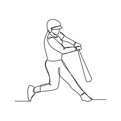 Baseball player, hitter swinging with bat, continuous line drawing vector illustration