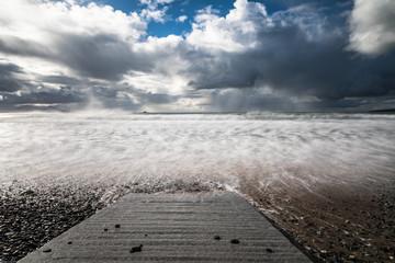 Stormy ocean beach coast waves, west coast of Ireland  Atlantic ocean. Wall mural