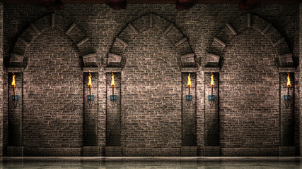 Stone wall with arches and torches