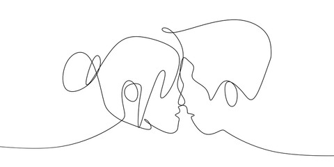 Romantic couple continuous line drawing vector illustration