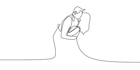 Valentine couple with kissing pose concept. One continuous line art drawing vector illustration minimalism style