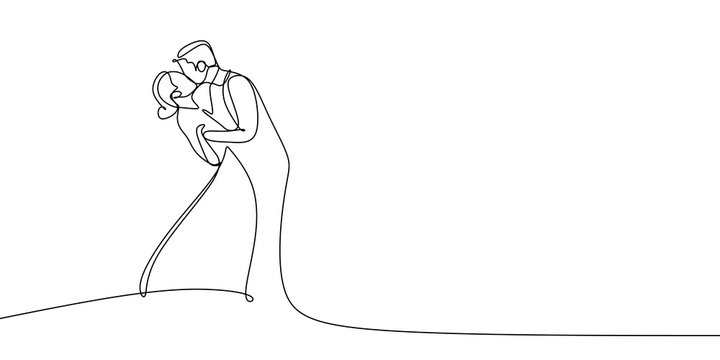 Elegant couple wearing dress kissing very attractive. One line drawing vector illustration.