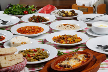Traditional Turkish foods ready to eat on table