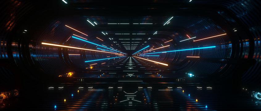 Dark Spaceship interior bridge corridor