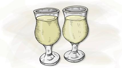 Vector Illustration of Cider Glasses Sketch Style