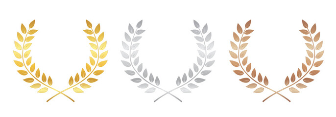 Golden, silver and bronze Award Laurel Wreath isolated on white background . Winner Leaf label,  Symbol of Victory. Vector Illustration