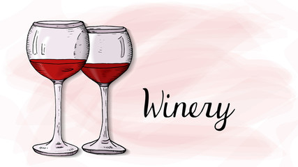 Vector Illustration of Winery Template with Wine Glasses Sketch Style