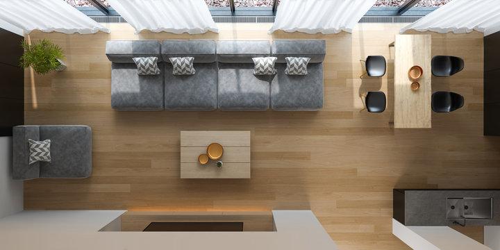 Interior of modern living room top view 3D rendering