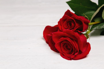 bouquet of red roses on a white wooden background