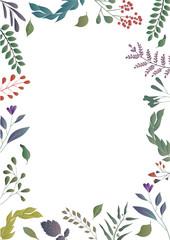 Floral colorful background. Floral frame.