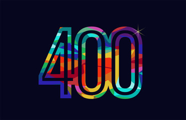 rainbow colored number 400 logo company icon design Fototapete