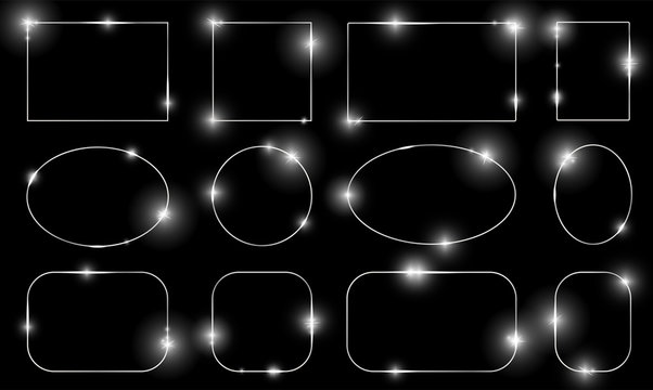 Silver metal shiny glowing frames set with shadows isolated on black background. Pack of luxury realistic square, round, oval borders. Vector illustration