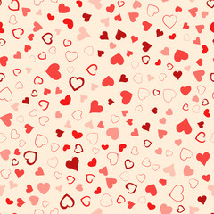 Valentines Day seamless pattern design. Red hand drawn hearts on ivory background. Love concept. Template for business card, website, print etc. Vector illustration