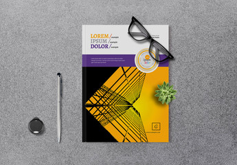 Business Brochure Layout with Purple and Yellow Accents