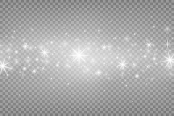 White sparks and silver shiny stars with light effect. Magic dust particles. Vector sparkles effect on transparent background. Christmas and New year abstract pattern. Vector illustration