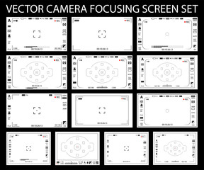 Camera focusing screen with settings 13 in 1 pack - digital, mirorless, DSLR, cameraphone isolated. Viewfinders camera recording. Vector illustration