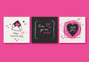 Square Valentine's Card Set