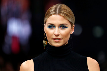 Model Lena Gercke presents a makeup creation by Maybelline New York during the Berlin Fashion Week Autumn/Winter 2019/20 in Berlin