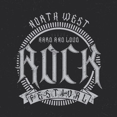 North West Rock Festival typography, t-shirt graphics