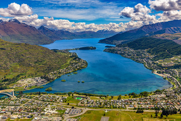 New Zealand. South Island, Otago region. Queenstown and Lake Wakatipu, Frankton Arm. There is Cecil Peak in the background, on left