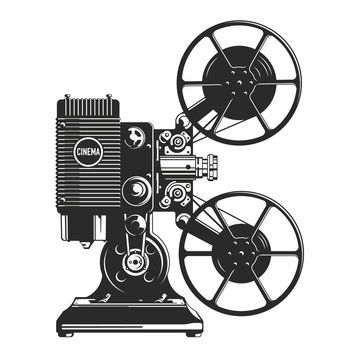 Vintage film projector vector illustration.