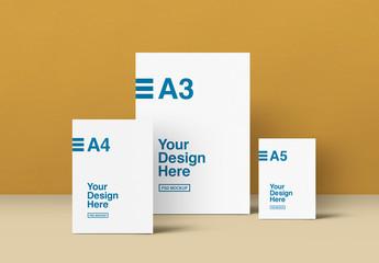 A3, A4 and A5 Paper Mockup