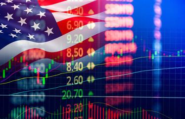 USA. America stock market exchange / New york stock market analysis forex indicator of changes graph