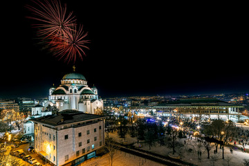 Belgrade, Serbia - January 14, 2019: Orthodox New years eve celebration with fireworks over the Church of Saint Sava at midnight in Belgrade, Serbia