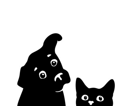 Curious cat and dog muzzles. Vector