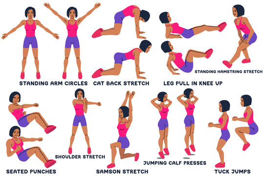 Standing arm circles. Cat back stretch. Leg pull in knee up. Standing hamsting stretch. Seated punches. Shoulder stretch. Samson stretch. Jumping calf press. Tuck jumps. Sport exersice.