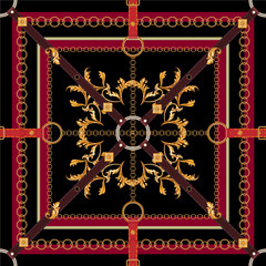 Baroque seamless pattern with belts, leaves and chains. Vector patch for print, fabric, scarf