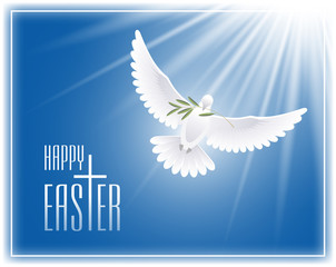 Happy Easter. Greeting card with cross, flying dove and olive branch. Vector illustration.