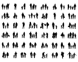 Black silhouettes of families in walk on a white background
