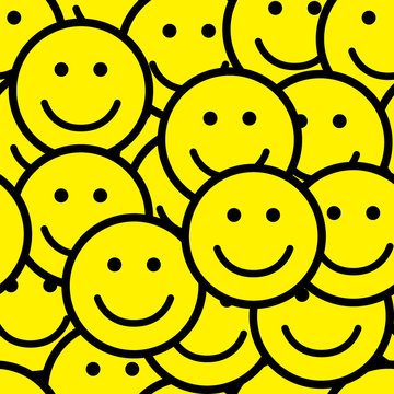 Seamless pattern with smile icons.