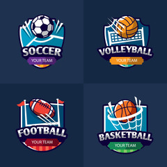 Mega set of colorful sports logos soccer, american football, volleyball. Vector abstract isolated illustration