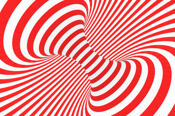 Swirl optical 3D illusion raster illustration. Contrast red and white spiral stripes. Geometric torus image with lines, loops.
