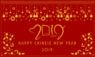 """Happy chinese new year. Pig - symbol 2019 New Year. Chinese translation: """"Happy New Year"""". Template banner, poster, greeting cards. Vector illustration. - Vector"""
